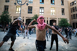 © Licensed to London News Pictures. 11/08/2020. Beirut, Lebanon. Demonstrators protest against the government in Downtown Beirut, a week after an explosion  killed more than 200 people so far, and caused major damage to the city.  Photo credit : Tom Nicholson/LNP