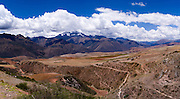 View of the Cordillera Urupampa mountain range in the Peruvian Andes, looming over the Sacred Valley, Peru; Chicon (18,143')  is the highest mountain in the center of this photo.