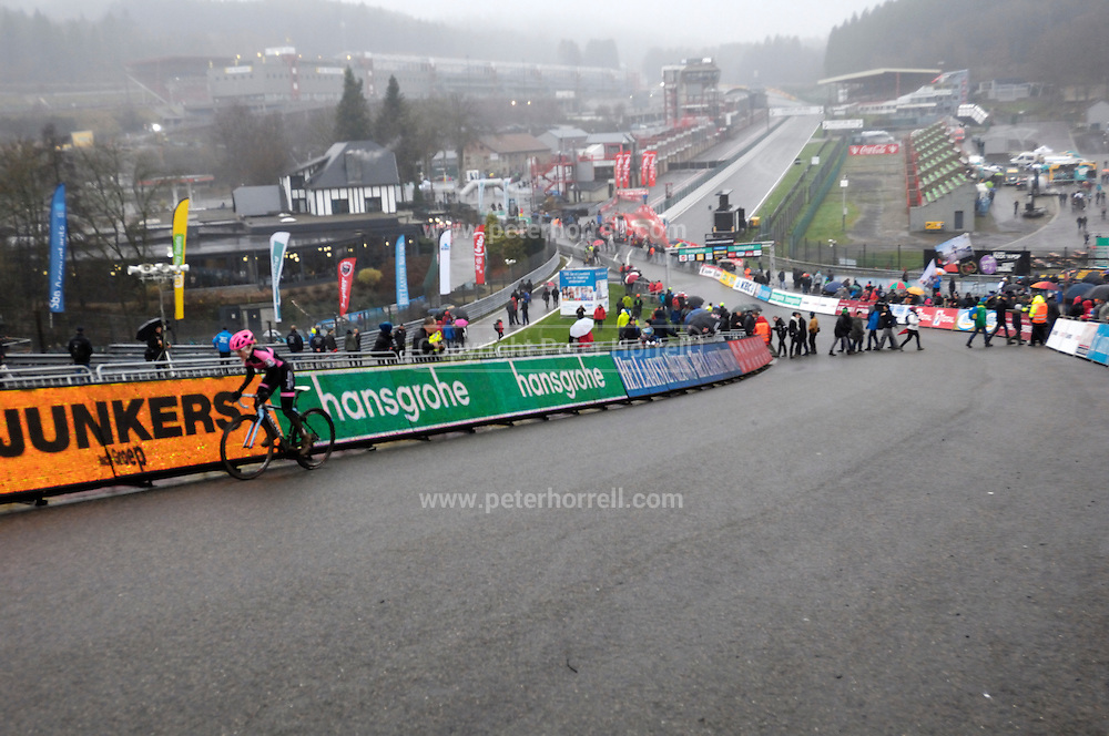 Belgium, Sunday 13th December 2015: View looking down the Raidillon corner of the Spa Francorchamps motor racing circuit during the women's race at the Hansgrohe Superprestige 2015 event.<br /> <br /> Copyright 2015 Peter Horrell