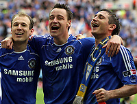 Photo: Paul Thomas.<br /> Chelsea v Manchester United. The FA Cup Final. 19/05/2007.<br /> <br /> (L-R) Joe Cole, Arjen Robben, John Terry, Frank Lampard and John Obi Mikel of Chelsea celebrate.
