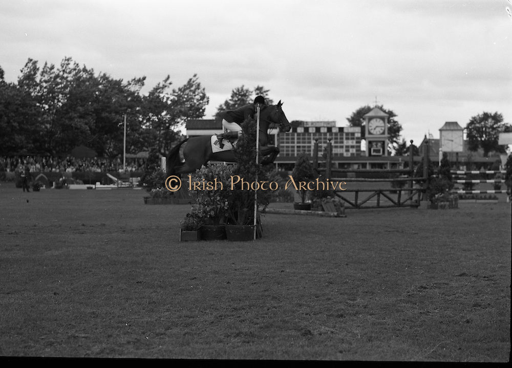 RDS Horse Show.  Dumdrum, ridden by Tommy Wade, winner of the International Competition for the Boylan Memorial Perpetual Challange  Trophy, jumping in the contest.<br /> 08.08.1963