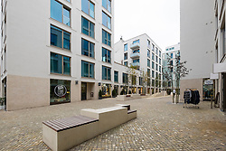 Exterior view of new mixed residential and retail property development on Kastanienallee in Prenzlauer Berg Berlin Germany