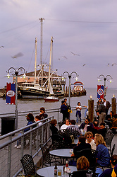 Kemah boardwalk restaurant tables in the early evening