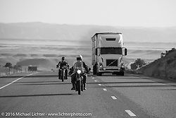 Jim Petty (L) riding his 1927 Indian Chief next to John Landstrom on his 1928 BMW R62 on interstate-70 after leaving Grand Junction on the morning of stage 11 (289 miles) of the Motorcycle Cannonball Cross-Country Endurance Run, which on this day ran from Grand Junction, CO to Springville, UT., USA. Tuesday, September 16, 2014.  Photography ©2014 Michael Lichter.