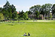 In Utrecht picknicken twee mensen als enige in het Noorderpark en genieten van het mooie lenteweer.<br /> <br /> In Utrecht two people are the only ones enjoying the nice spring weather in the Noorderpark.
