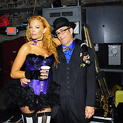 """Dawn Lewis aka Peaches Mahoney and percussionist """"Blind Dog"""" backstage after their performance with Vaud and the Villains at The Music Hall in Portsmouth, NH. July 2012."""