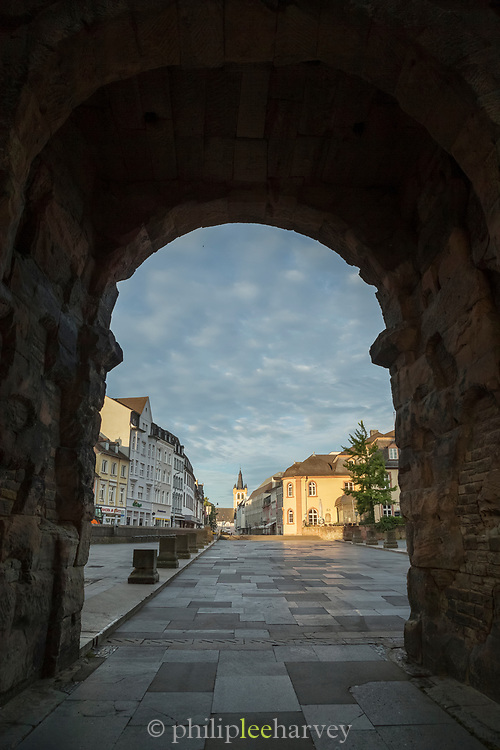 Buildings in Trier captured from Porta Nigra, a large Roman city gate in Trier, Germany.