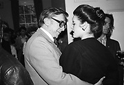 Sir Robin Day and Nigella Lawson.Literary Review party, St. James Sq. London.26 October 1984.© Copyright Photograph by Dafydd Jones 66 Stockwell Park Rd. London SW9 0DA Tel 020 7733 0108 www.dafjones.com