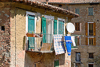Houses in the small mountain village of Lantosque, France
