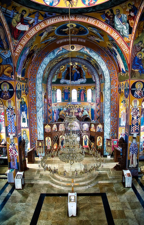 The beautiful Byzantine interior of the All Serbian Saints Orthodox Church, Toronto (Canada).<br /> <br /> This beautiful church building is built in Byzantine style, which is traditional for Orthodox churches. The building has three balconies for choirs, hand crafted iconostasis, with icons produced in Belgrade.