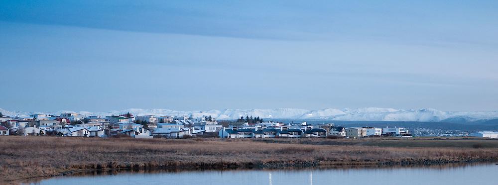 Evening light, mountains behind Reykjavik