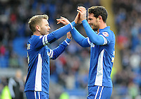 CELE - Cardiff City's Sean Morrison celebrates scoring the opening goal with team mate Aron Gunnarsson<br /> <br /> Photographer Ashley Crowden/CameraSport<br /> <br /> Football - The Football League Sky Bet Championship - Cardiff City v Fulham - Saturday 10th January 2015 - Cardiff City stadium - Cardiff <br /> <br /> © CameraSport - 43 Linden Ave. Countesthorpe. Leicester. England. LE8 5PG - Tel: +44 (0) 116 277 4147 - admin@camerasport.com - www.camerasport.com