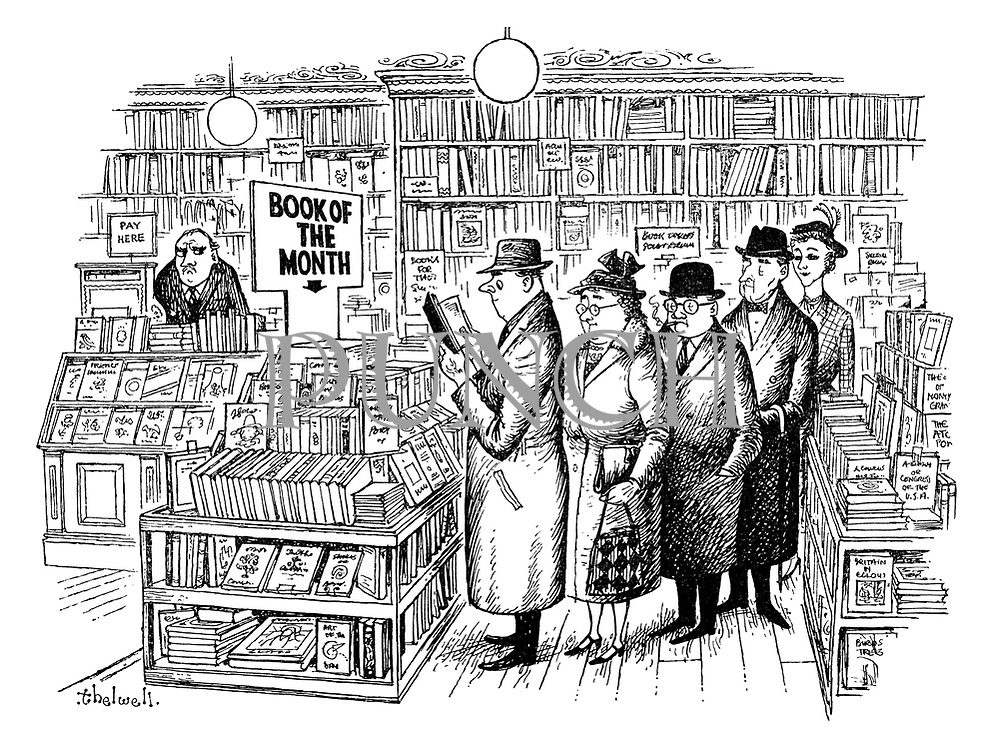 (People queuing to read the book of the month in bookshop)