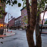 Intersection of 8th and Broadway, downtown Kansas City, Missouri.