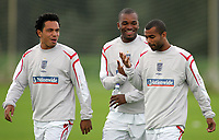 Photo: Paul Thomas.<br /> England Training Session. 01/09/2006.<br /> <br /> (L-R) Kieran Richardson, Darren Bent and Ashley Cole.