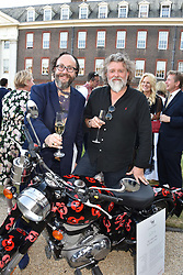 """Left to right, David Myers and Simon """"Si"""" King collectively known as the Hairy Bikers,  at the Concours d'éléphant in aid of Elephant Family held at the Royal Hospital Chelsea, London, England. 28 June 2018."""