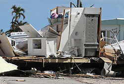 Remnants of a destroyed trailer at the Seabreeze trailer park along the Overseas Highway in the Florida Keys on Tuesday, September 12, 2017. Photo by Al Diaz/Miami Herald/TNS/ABACAPRESS.COM