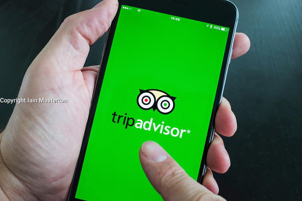 Tripadvisor travel app logo on screen of iPhone 6 plus smart phone