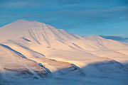 Sunset on Helvetiafjellet, Svalbard.