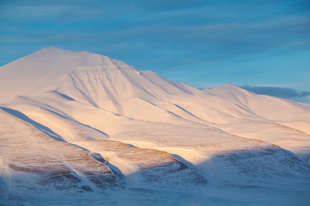 Sunset on Helvetiafjellet, Svalbard.