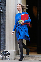 © Licensed to London News Pictures. 08/01/2019. London, UK. Liz Truss - Chief Secretary to the Treasury departs from No 10 Downing Street after attending the weekly Cabinet Meeting. Photo credit: Dinendra Haria/LNP