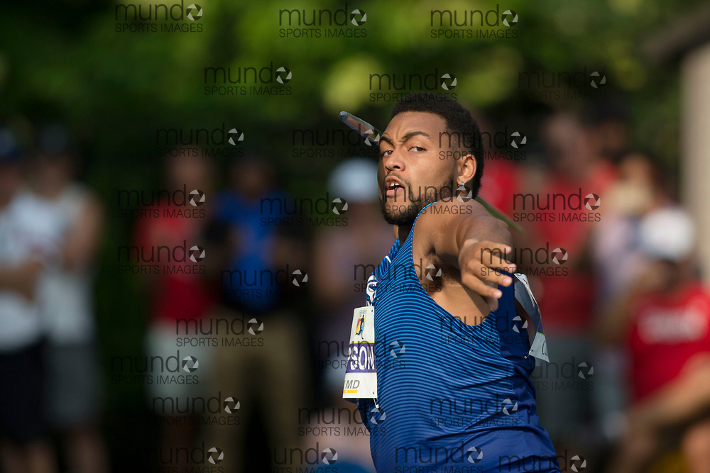 Toronto, ON -- 11 August 2018: Curtis Thompson (USA), javelin at the 2018 North America, Central America, and Caribbean Athletics Association (NACAC) Track and Field Championships held at Varsity Stadium, Toronto, Canada. (Photo by Sean Burges / Mundo Sport Images).