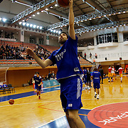 Anadolu Efes's Jon Diebler warms-up prior to their Turkish Basketball Super League match Istanbul BBSK between Anadolu Efes at Cebeci Arena in Istanbul Turkey on Sunday 29 November 2015. Photo by Aykut AKICI/TURKPIX