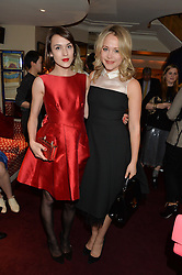 Left to right, ELLA CATLIFF and POPPY JAMIE at a dinner hosted by fashion label Kate Spade NY held at George, 87-88 Mount Street, London on 19th November 2014.