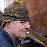 Mallaig Boatyard.  Ian MacLeod. Fabricator welder. Picture Robert Perry 9th April 2016<br /> <br /> Must credit photo to Robert Perry<br /> FEE PAYABLE FOR REPRO USE<br /> FEE PAYABLE FOR ALL INTERNET USE<br /> www.robertperry.co.uk<br /> NB -This image is not to be distributed without the prior consent of the copyright holder.<br /> in using this image you agree to abide by terms and conditions as stated in this caption.<br /> All monies payable to Robert Perry<br /> <br /> (PLEASE DO NOT REMOVE THIS CAPTION)<br /> This image is intended for Editorial use (e.g. news). Any commercial or promotional use requires additional clearance. <br /> Copyright 2014 All rights protected.<br /> first use only<br /> contact details<br /> Robert Perry     <br /> 07702 631 477<br /> robertperryphotos@gmail.com<br /> no internet usage without prior consent.         <br /> Robert Perry reserves the right to pursue unauthorised use of this image . If you violate my intellectual property you may be liable for  damages, loss of income, and profits you derive from the use of this image.