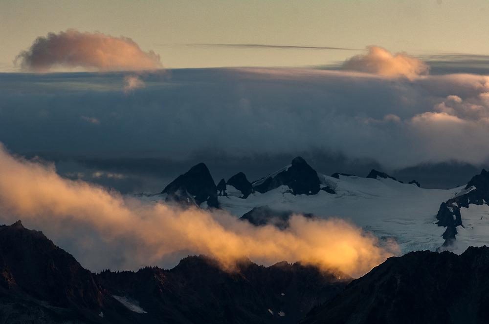 Mount Olympus, 7,828 ft  (2,386 m), alpine glaciers, evening light, August, Olympic National Park, Washington, USA