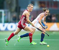AMSTERDAM - Hockey - Alex Danson (GB).  Interland tussen de vrouwen van Nederland en Groot-Brittannië, in de Rabo Super Serie 2016 .  COPYRIGHT KOEN SUYK