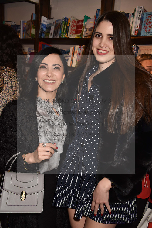 Gulshen Eren and her daughter Mayra Eren Benekay at a party to celebrate the publication of Saving The World by Paola Diana at Daunt Books, Marylebone, London England. 2 May 2018.