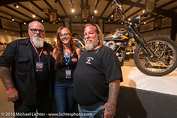 Cindy Panarra with Bob, Tommy and Michael Lichter on the Industry party night for Michael Lichter's tattoo themed Skin & Bones Motorcycles as Art exhibition at the Buffalo Chip during the annual Sturgis Black Hills Motorcycle Rally.  SD, USA.  August 7, 2016.  Photography ©2016 Michael Lichter.