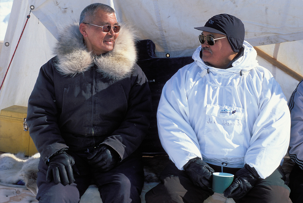 Barrow, Alaska, A local whaling captain visits another at his camp on the frozen Chukchi Sea.