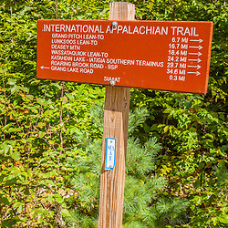 International Appalachian Trail sign on the trail east of Baxter State Park in Maine's northern forest.