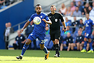 Loic Damour of Cardiff city in action. EFL Skybet championship match, Cardiff city v Aston Villa at the Cardiff City Stadium in Cardiff, South Wales on Saturday 12th August 2017.<br /> pic by Andrew Orchard, Andrew Orchard sports photography.