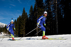 Jakov Fak and Klemen Bauer at practice session during Media day of Slovenian biathlon team on November 12, 2010 at Rudno polje, Pokljuka, Slovenia. (Photo By Vid Ponikvar / Sportida.com)