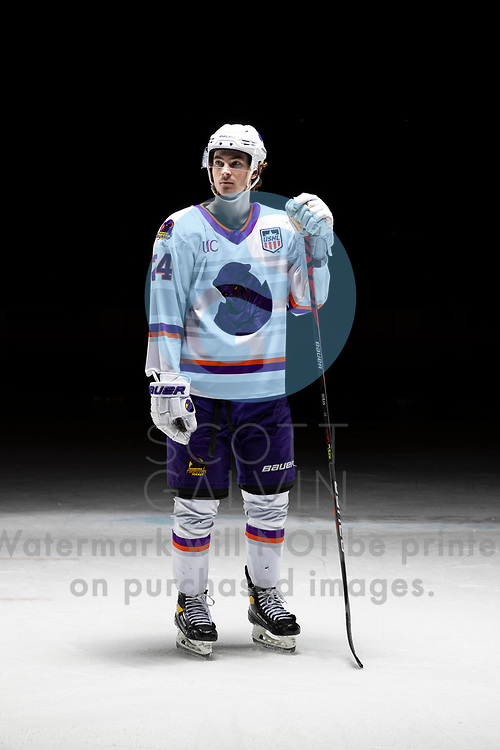 Youngstown Phantoms player photo shoot on April 14, 2021. <br /> <br /> Riley Duran, forward, 24
