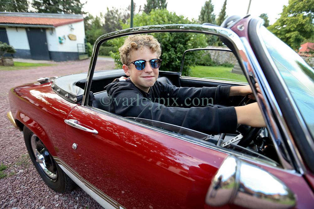 05 Sept 2019. St Denoeux, Pas de Calais, France.<br /> Messing about with cars. Ben in the Lotus Elan Sprint at Festina Lente Gîtes.<br /> Photo©; Charlie Varley/varleypix.com