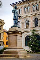 Statue of Marco Minghetti in the square that bears his name, Bologna, Italy<br /> <br /> (c) Andrew Wilson | Edinburgh Elite media