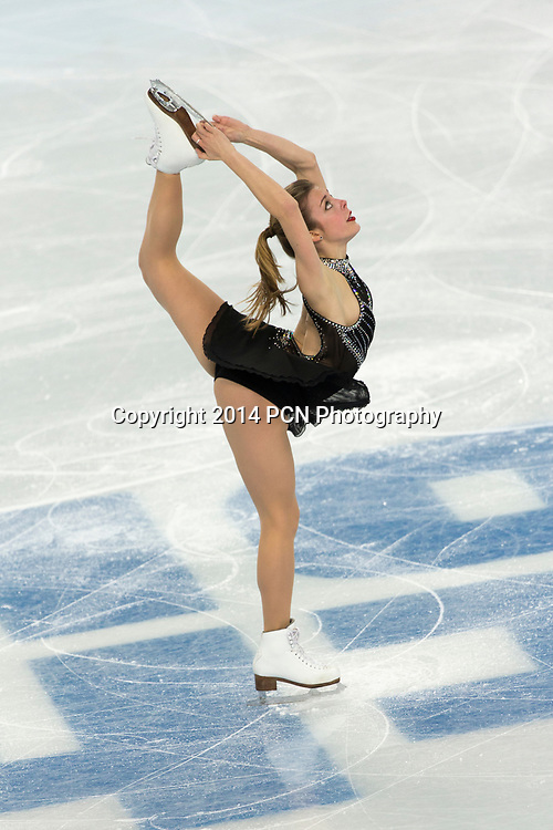 Ashley Wagner (USA) competiting in the Women's Figure Skating Short Program at the Olympic Winter Games, Sochi 2014
