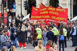 May 1, 2019 - London, UK, UK - London, UK. Hundreds of demonstrators marched from Clerkenwell Green to Trafalgar Square to mark the annual May Day Rally on International Workers' Day. Labour Day in some countries and often referred to as May Day, is a celebration of labourers and the working classes that is promoted by the international labour movement which occurs every year on May Day (1 May), an ancient European spring festival. (Credit Image: © Dinendra Haria/London News Pictures via ZUMA Wire)