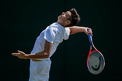July 3, 2018 - London, U.S. - LONDON, ENGLAND - JULY 03: TAYLOR HARRY FRITZ (USA) during day two match of Wimbledon on July 3, 2018, at All England Lawn Tennis and Croquet Club in London, England. (Photo by Chaz Niell/Icon Sportswire) (Credit Image: © Chaz Niell/Icon SMI via ZUMA Press)