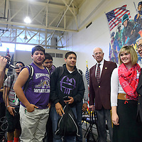 020615       Cayla Nimmo<br /> <br /> Hiroshi Miyamura meets with students and poises for photos after the ceremony in his honor held at Miyamura High School Friday.