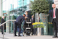 Daley Blind Midfielder of Manchester United takes photo of Antonio Valencia Midfielder of Manchester United and fan before they depart the Lowry hotel before the Manchester United vs Celta Vigo match  at Old Trafford, Manchester, United Kingdom on 11 May 2017. Photo by Phil Duncan.