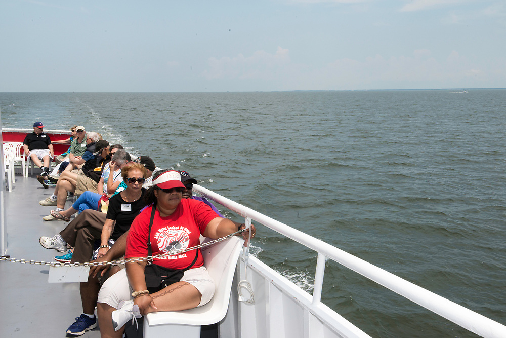 August 4, 2017 - Ferry passengers aboard the Stephen Thomas en route to Tangier Island. Photo by Susana Raab/Institute