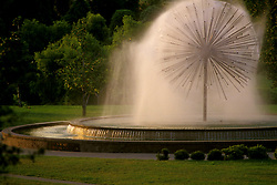 Stock photo of Gus Wortham fountain during the early evening