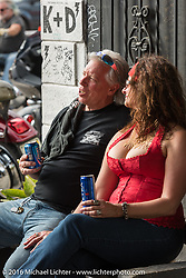 Doug Danger, Guiness Book of World Records record holder for jumping the most cars with a motorcycle, having a relaxing time with his wife Maria before going back into training for his next record breaking attempt at jumping 15 semi-trucks (Sturgis 2016) at Sopotnicks Cabbage Patch Bar, New Smyrna Beach, during Daytona Bike Week's 75th Anniversary event. FL, USA. Saturday March 12, 2016.  Photography ©2016 Michael Lichter.