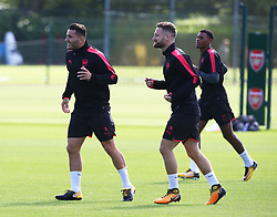 September 13, 2017 - London, England, United Kingdom - L-R Arsenal's Sead Kolasinac and Arsenal's Shkodran Mustafi.during a Arsenal training session ahead of the UEFA Europa League Group H match against 1. FC Kln at Arsenal training centre , London Colney on 13 Sep  2017 St.Albans, England  (Credit Image: © Kieran Galvin/NurPhoto via ZUMA Press)