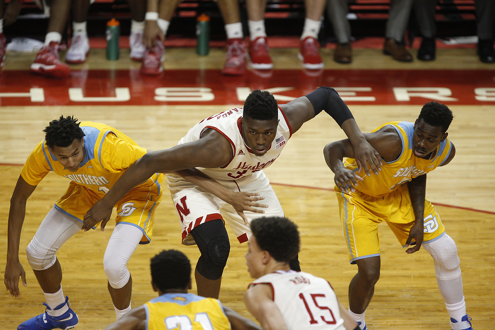 Nebraska Cornhuskers center Jordy Tshimanga #32 positions for a rebound during Nebraska's 81-76 win over Southern at Pinnacle Bank Arena in Lincoln, Neb. on Dec. 20, 2016. Photo by Aaron Babcock, Hail Varsity